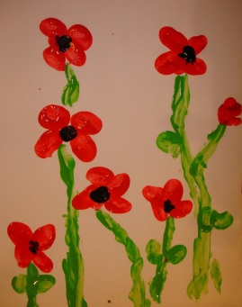Poppy finger paint art picture