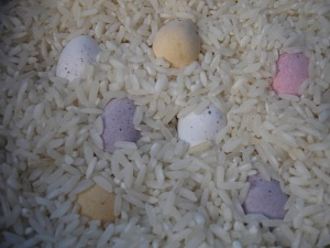 Mini Eggs in rice
